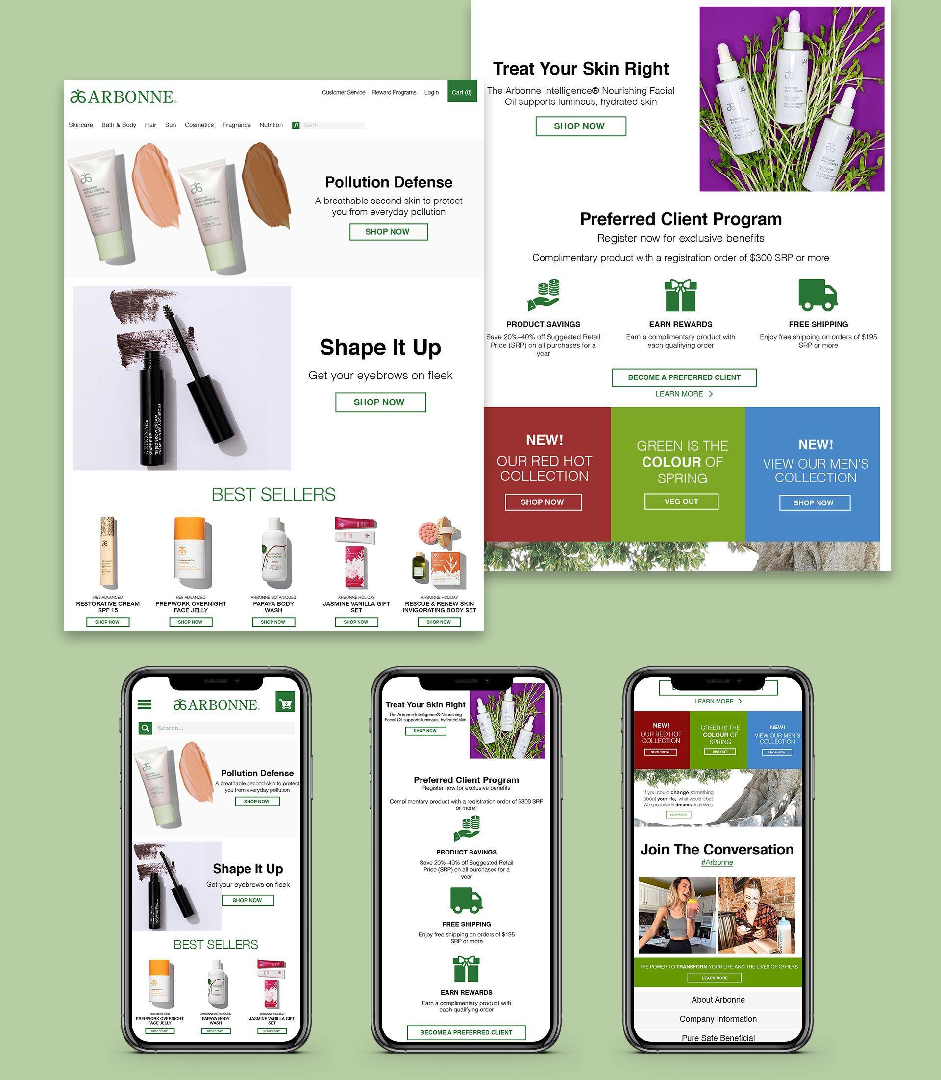 Arbonne Homepage Designs