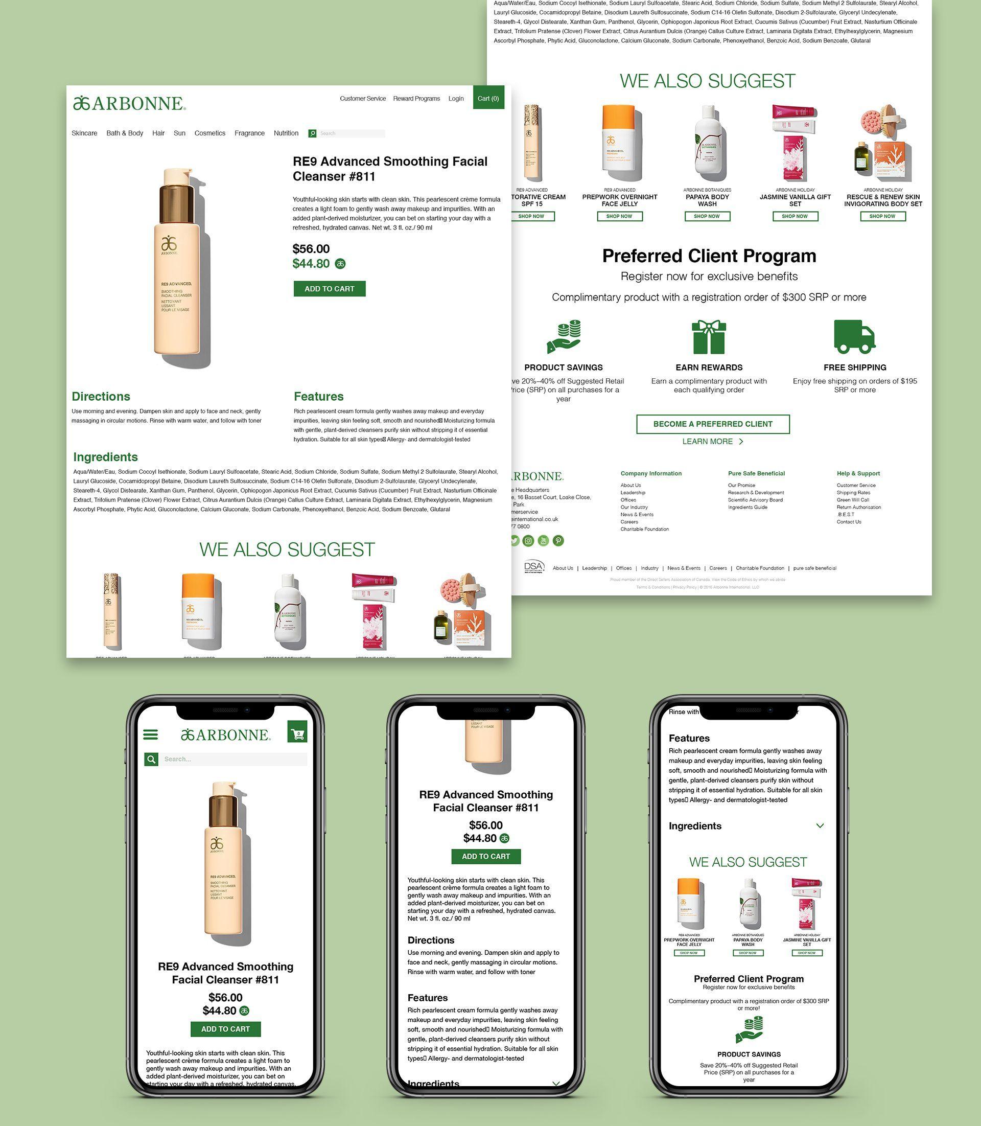 Arbonne Product Page Designs