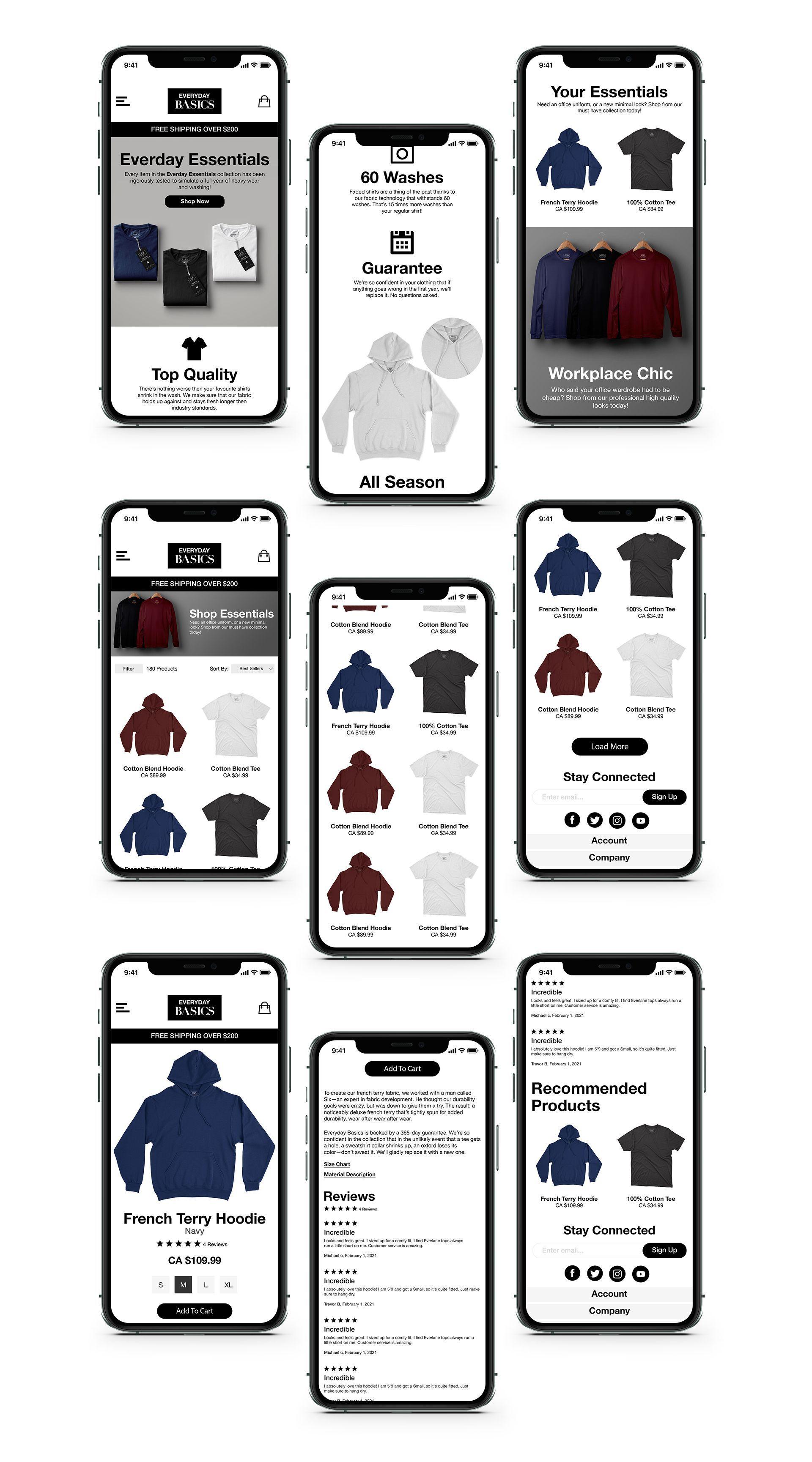 Everyday Basics Mobile Designs
