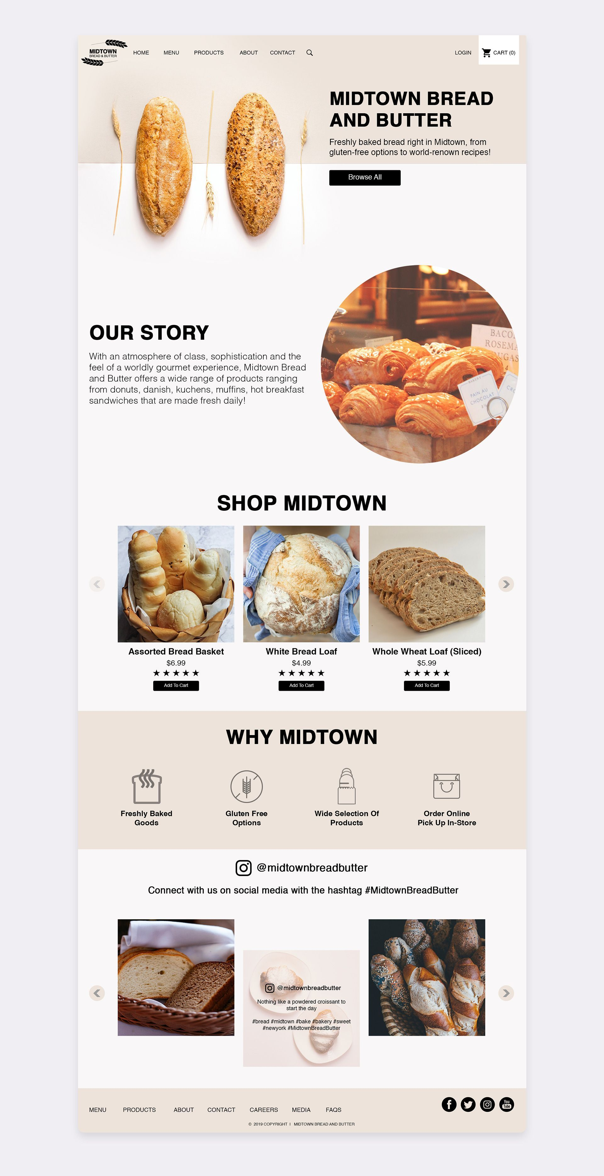 Bakery Website Design logo design branding design Midtown Bread and Butter