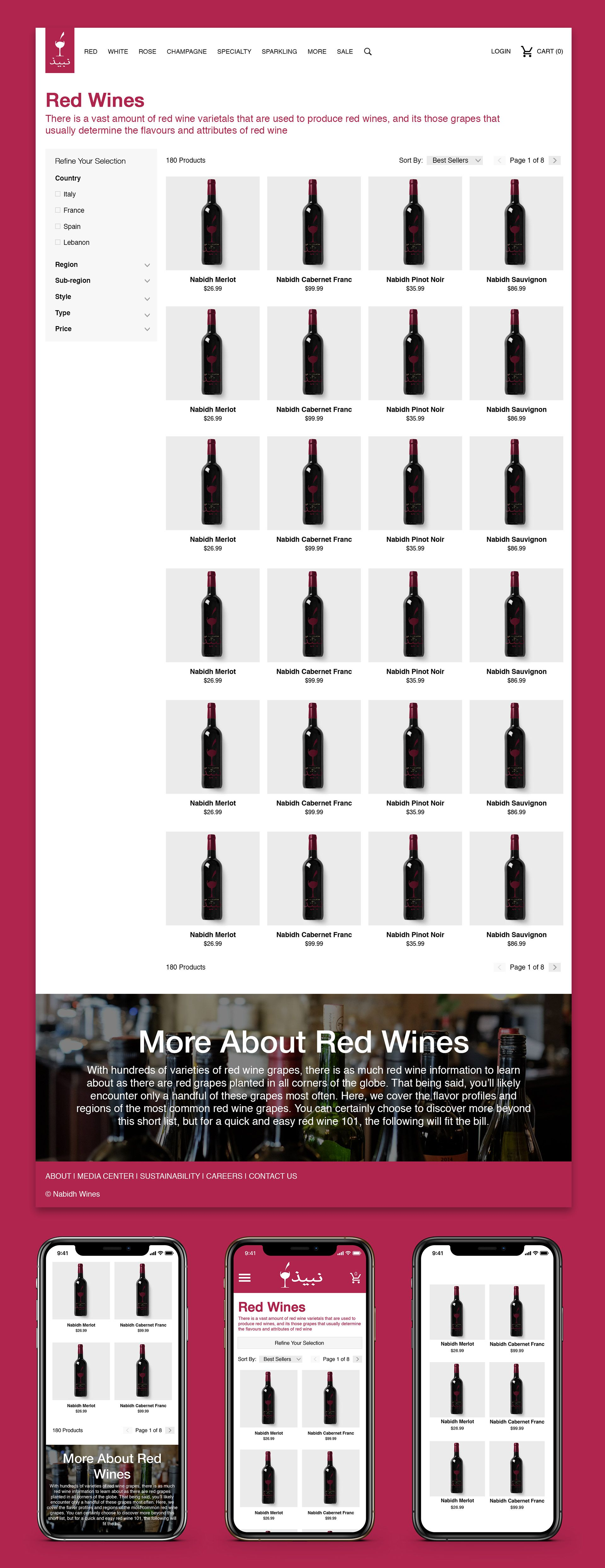 Collection Page Website Design Nabidh Wine Company