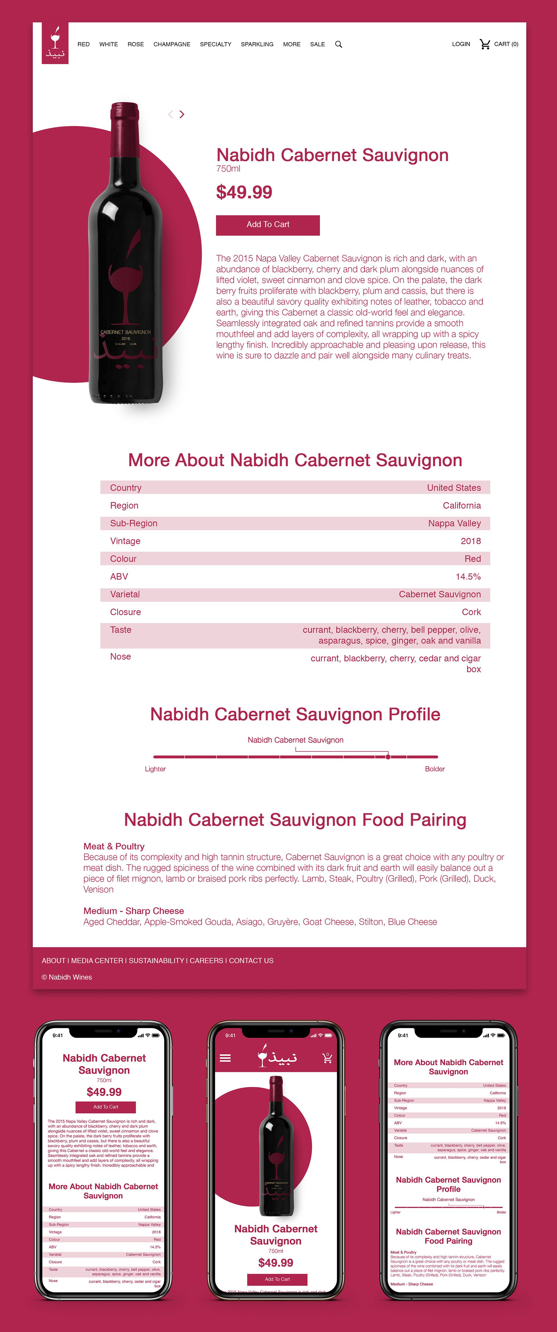 Product Page Designs Nabidh Wine Website Design
